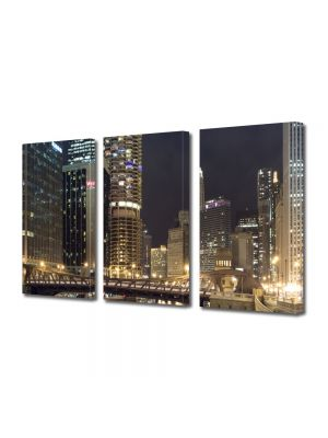 Set Tablouri Multicanvas 3 Piese Chicago