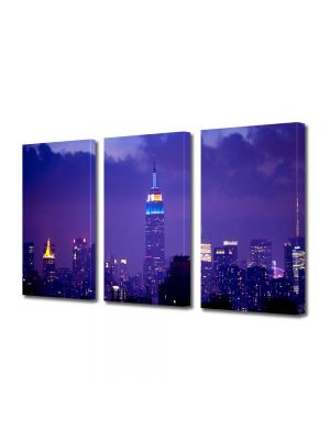 Set Tablouri Multicanvas 3 Piese Cladirea Empire State noaptea