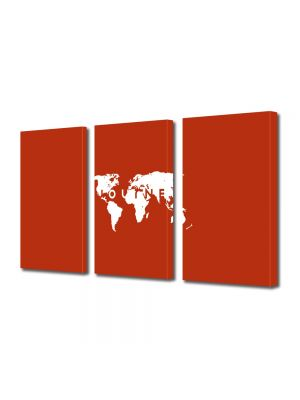 Set Tablouri Multicanvas 3 Piese Calatorie in jurul lumii