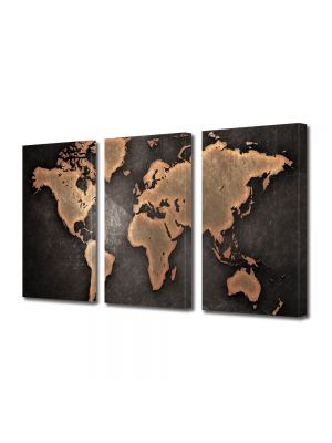Set Tablouri Multicanvas 3 Piese Harta lumii abstract