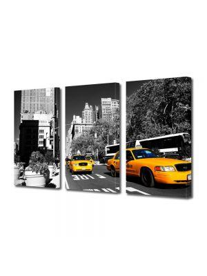 Set Tablouri Multicanvas 3 Piese Taxi in New York