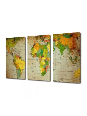 Set Tablouri Multicanvas 3 Piese Harta politica a lumii