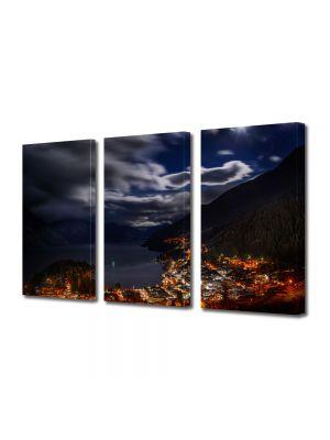 Set Tablouri Multicanvas 3 Piese Panorama de noapte