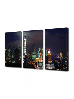 Set Tablouri Multicanvas 3 Piese Shanghai China noaptea
