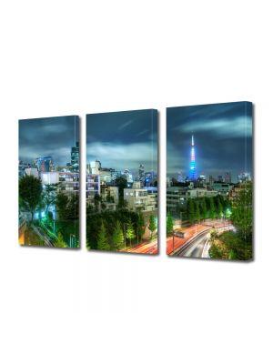 Set Tablouri Multicanvas 3 Piese Seara in tokyo