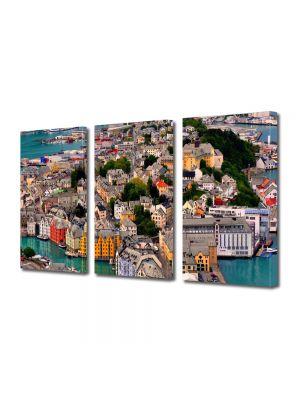 Set Tablouri Multicanvas 3 Piese Port in Norvegia