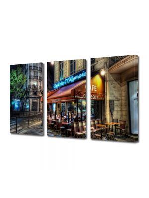 Set Tablouri Multicanvas 3 Piese Cafenera in Paris Franta