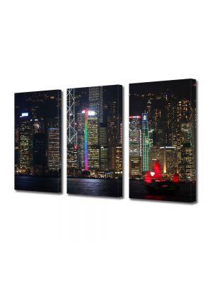 Set Tablouri Multicanvas 3 Piese Centrul Hong Kong China noaptea