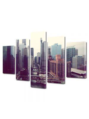 Set Tablouri Multicanvas 5 Piese Perspectiva orasului