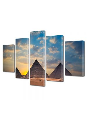 Set Tablouri Multicanvas 5 Piese Piramidele din Egipt la apus