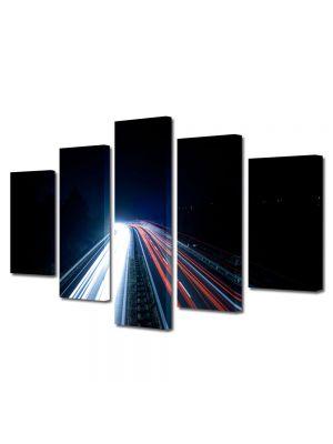 Set Tablouri Multicanvas 5 Piese Lumini pe autostrada