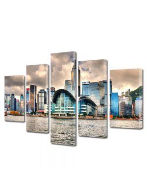 Set Tablouri Multicanvas 5 Piese Priveliste Hong Kong