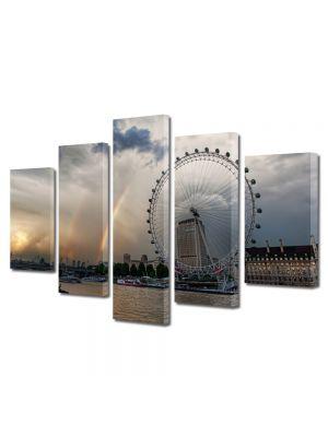 Set Tablouri Multicanvas 5 Piese Curcubeu in Londra