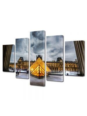 Set Tablouri Multicanvas 5 Piese Muzeul Louvre Paris Franta