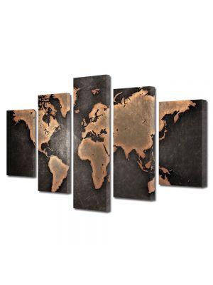 Set Tablouri Multicanvas 5 Piese Harta lumii abstract