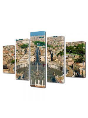 Set Tablouri Multicanvas 5 Piese Piata Sfantul Petru in roma