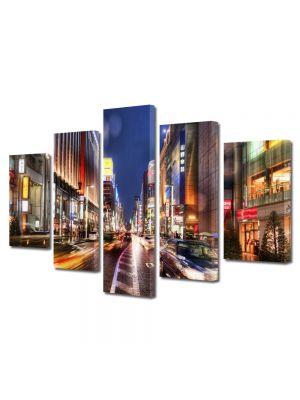 Set Tablouri Multicanvas 5 Piese Strada in Tokyo