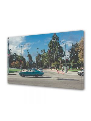 Tablou Canvas Luminos in intuneric VarioView LED Vintage Aspect Retro Strada cu palmieri