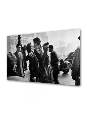 Tablou Canvas Vintage Aspect Retro Sarutul alb-negru