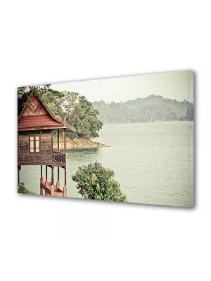Tablou Canvas Vintage Aspect Retro Cabana pe lac
