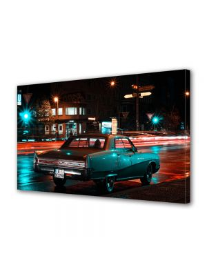 Tablou Canvas Luminos in intuneric VarioView LED Vintage Aspect Retro Orasul neon