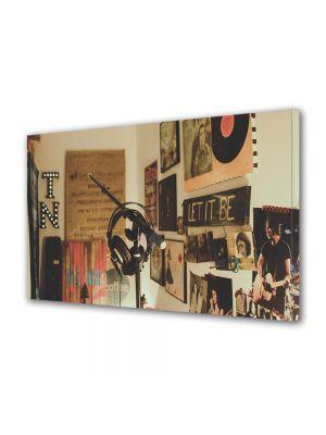 Tablou Canvas Luminos in intuneric VarioView LED Vintage Aspect Retro Studio de inregistrari