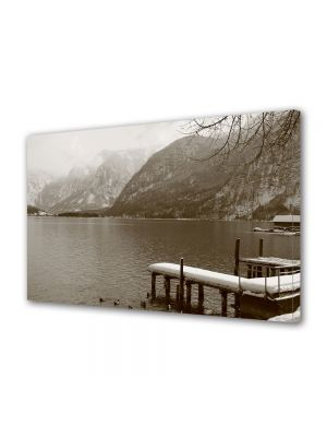 Tablou Canvas Luminos in intuneric VarioView LED Vintage Aspect Retro Lac montan in sepia