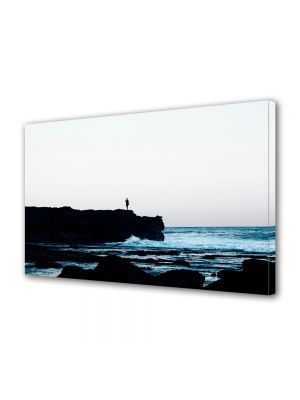 Tablou Canvas Luminos in intuneric VarioView LED Vintage Aspect Retro Dimineata la mare