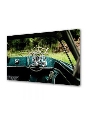 Tablou Canvas Luminos in intuneric VarioView LED Vintage Aspect Retro Interior masina verde