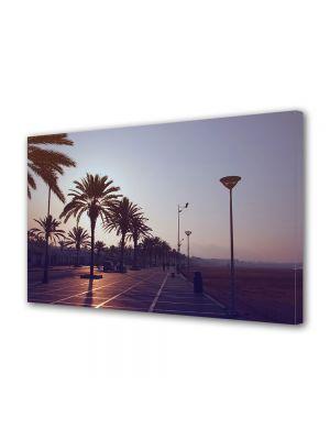 Tablou Canvas Luminos in intuneric VarioView LED Vintage Aspect Retro Palmieri la apus
