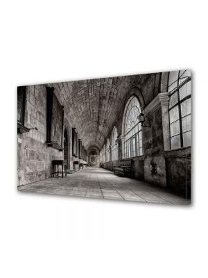 Tablou Canvas Luminos in intuneric VarioView LED Vintage Aspect Retro Coridor in castel