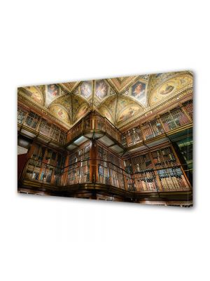 Tablou Canvas Luminos in intuneric VarioView LED Vintage Aspect Retro Biblioteca moderna