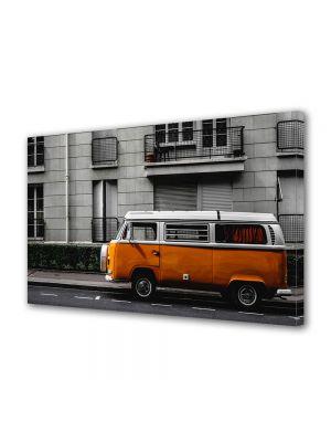 Tablou Canvas Luminos in intuneric VarioView LED Vintage Aspect Retro Masinuta portocalie