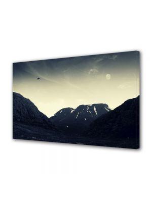 Tablou Canvas Vintage Aspect Retro OZN peste munti