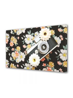Tablou Canvas Vintage Aspect Retro Camera foto si flori retro