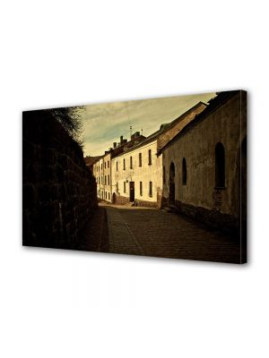 Tablou Canvas Luminos in intuneric VarioView LED Vintage Aspect Retro Straduta in oras medieval