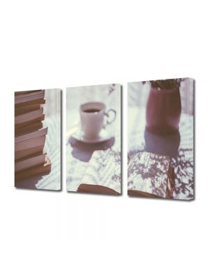 Set Tablouri Muilticanvas 3 Piese Vintage Aspect Retro Dimineata perfecta