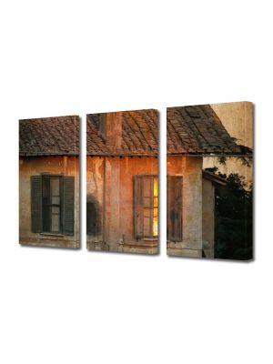 Set Tablouri Muilticanvas 3 Piese Vintage Aspect Retro Casa veche