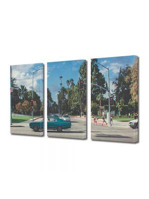 Set Tablouri Muilticanvas 3 Piese Vintage Aspect Retro Strada cu palmieri