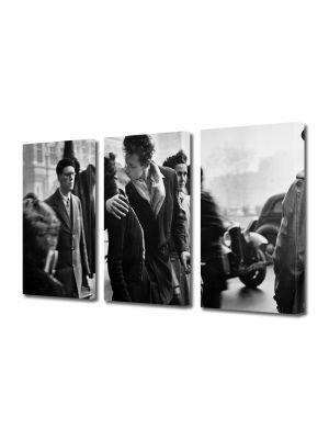 Set Tablouri Muilticanvas 3 Piese Vintage Aspect Retro Sarutul alb-negru