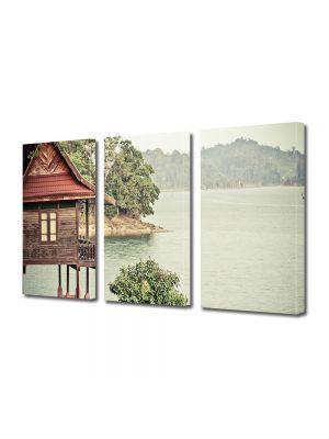 Set Tablouri Muilticanvas 3 Piese Vintage Aspect Retro Cabana pe lac