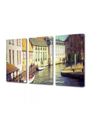 Set Tablouri Muilticanvas 3 Piese Vintage Aspect Retro Casute langa canal