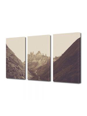 Set Tablouri Muilticanvas 3 Piese Vintage Aspect Retro Carare printre munti