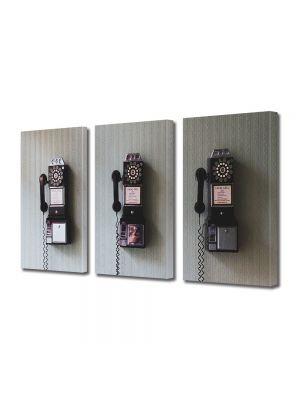 Set Tablouri Muilticanvas 3 Piese Vintage Aspect Retro Telefoane retro