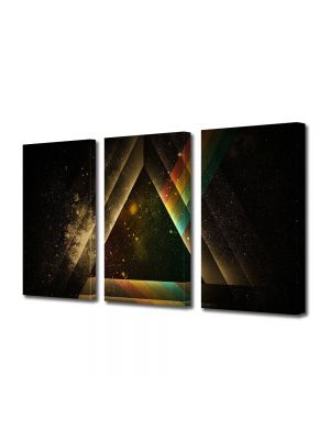 Set Tablouri Muilticanvas 3 Piese Vintage Aspect Retro Triunghi abstract