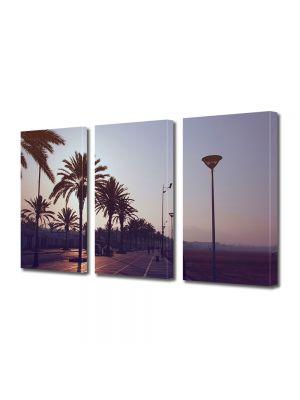 Set Tablouri Muilticanvas 3 Piese Vintage Aspect Retro Palmieri la apus