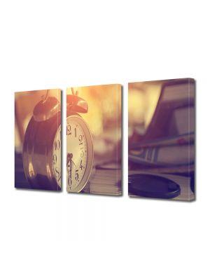 Set Tablouri Muilticanvas 3 Piese Vintage Aspect Retro Ceas desteptator vintage