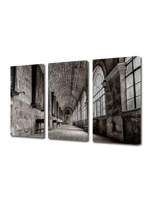 Set Tablouri Muilticanvas 3 Piese Vintage Aspect Retro Coridor in castel
