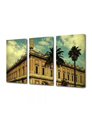 Set Tablouri Muilticanvas 3 Piese Vintage Aspect Retro Arhitectura tropicala