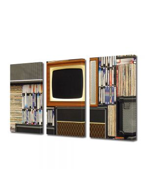 Set Tablouri Muilticanvas 3 Piese Vintage Aspect Retro Magazin de antichitati